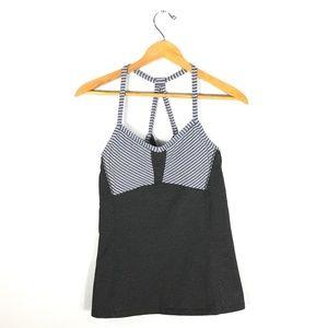ATHLETA Gray Striped Sports Bra Shirt   Size: S